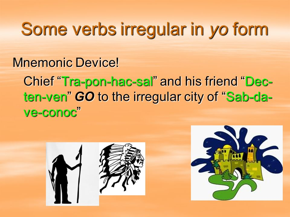 Some verbs irregular in yo form
