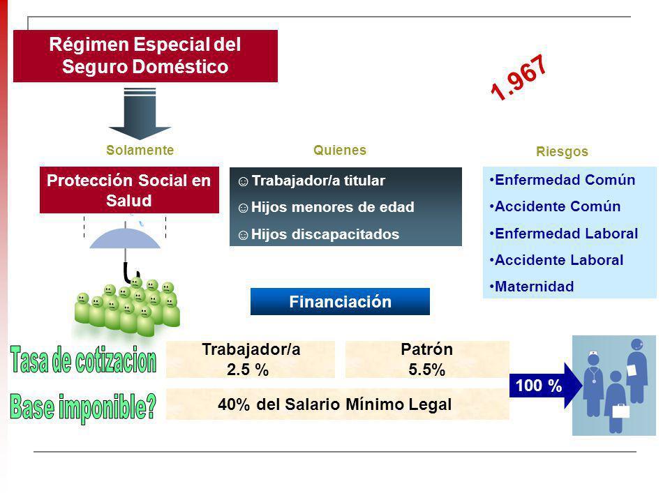 1.967 Régimen Especial del Seguro Doméstico Tasa de cotizacion