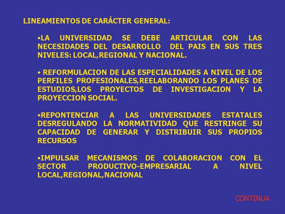 LINEAMIENTOS DE CARÁCTER GENERAL: