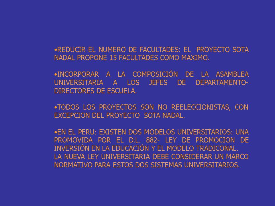 REDUCIR EL NUMERO DE FACULTADES: EL PROYECTO SOTA NADAL PROPONE 15 FACULTADES COMO MAXIMO.
