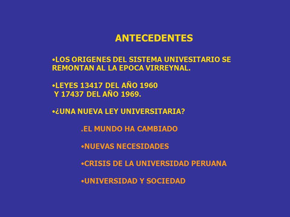 ANTECEDENTES LOS ORIGENES DEL SISTEMA UNIVESITARIO SE REMONTAN AL LA EPOCA VIRREYNAL. LEYES 13417 DEL AÑO 1960.