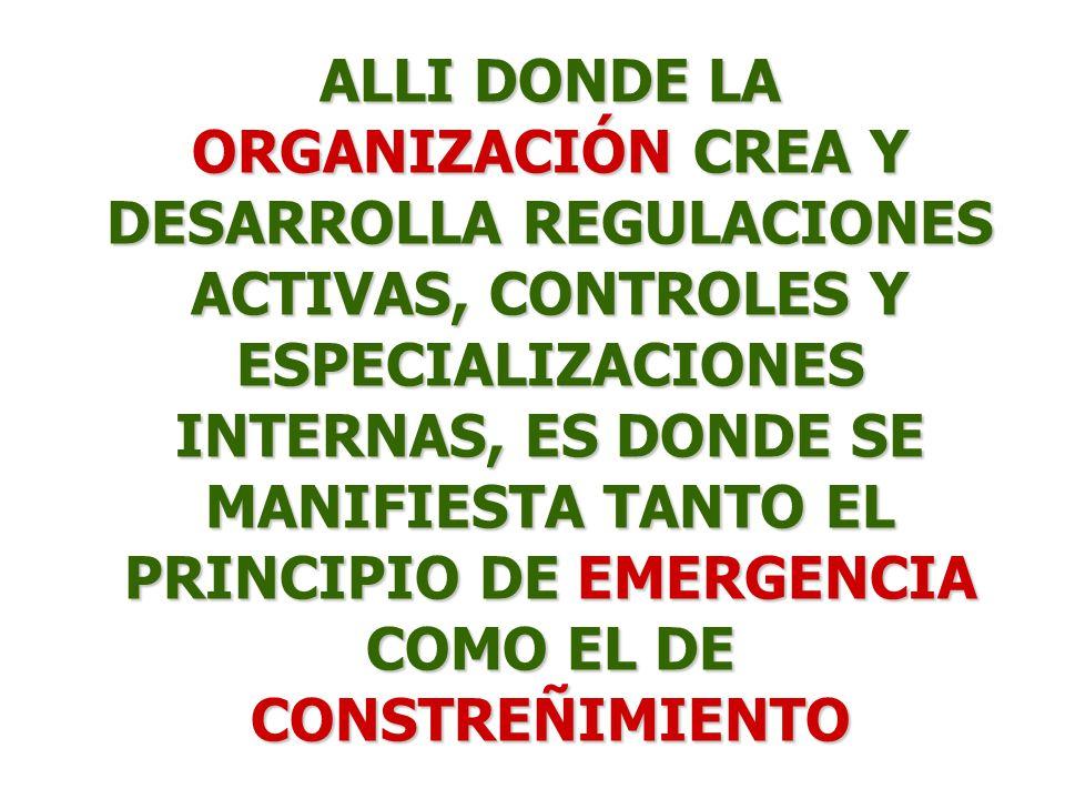 ALLI DONDE LA ORGANIZACIÓN CREA Y DESARROLLA REGULACIONES ACTIVAS, CONTROLES Y ESPECIALIZACIONES INTERNAS, ES DONDE SE MANIFIESTA TANTO EL PRINCIPIO DE EMERGENCIA COMO EL DE CONSTREÑIMIENTO