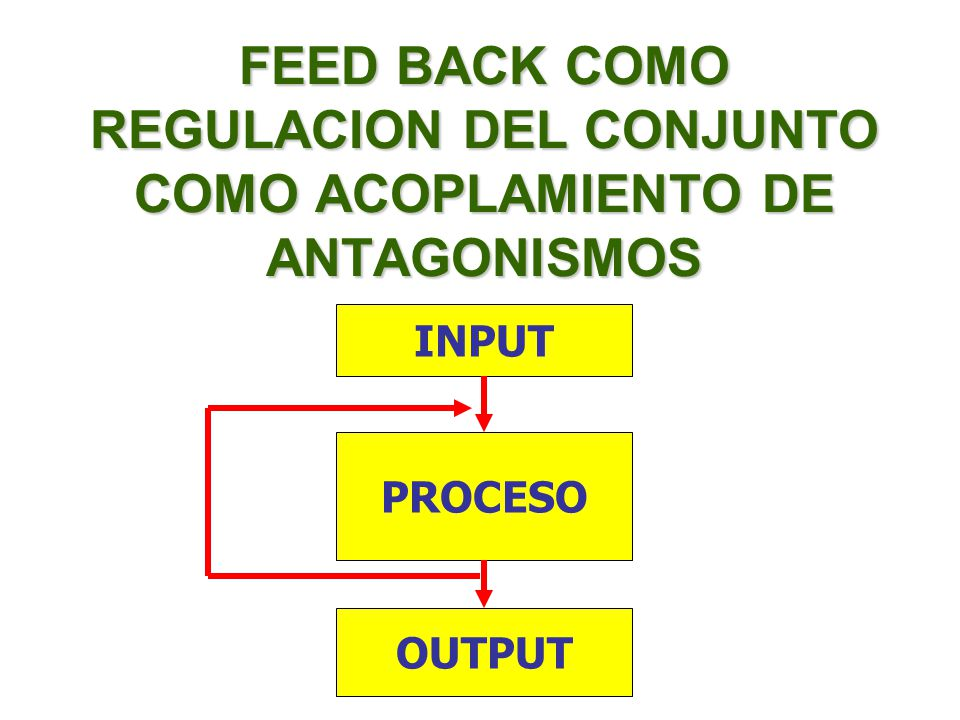 FEED BACK COMO REGULACION DEL CONJUNTO COMO ACOPLAMIENTO DE ANTAGONISMOS