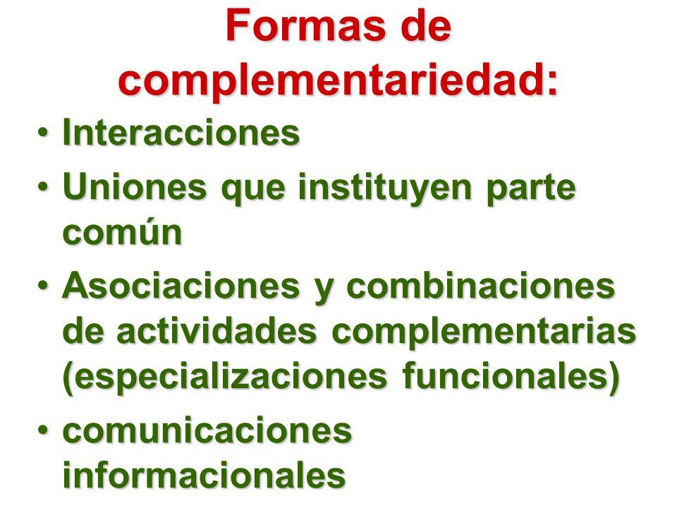 Formas de complementariedad: