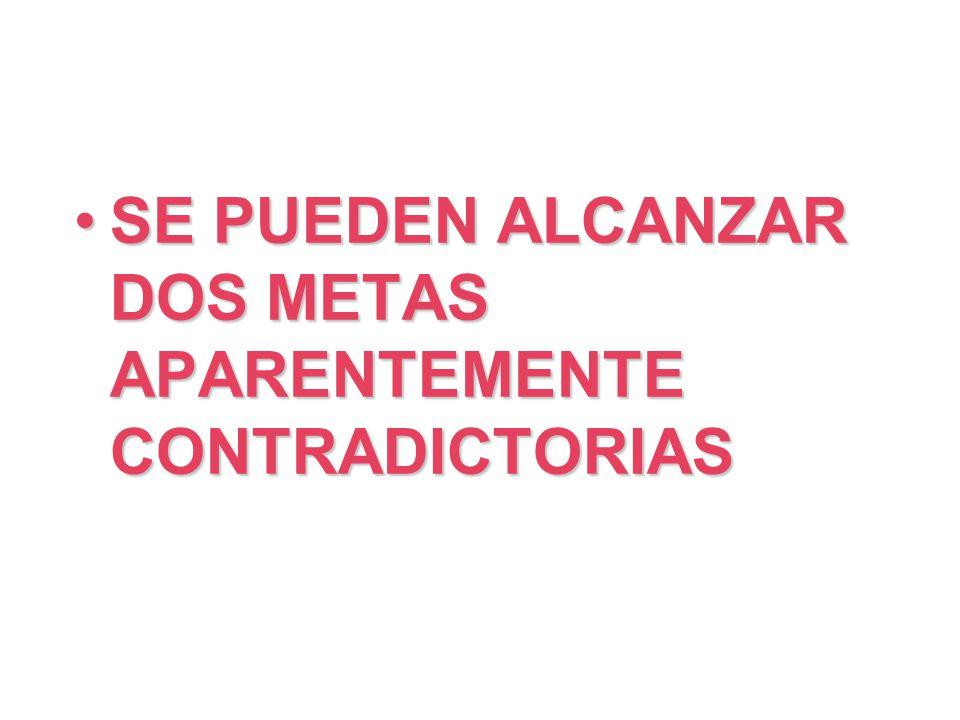 SE PUEDEN ALCANZAR DOS METAS APARENTEMENTE CONTRADICTORIAS