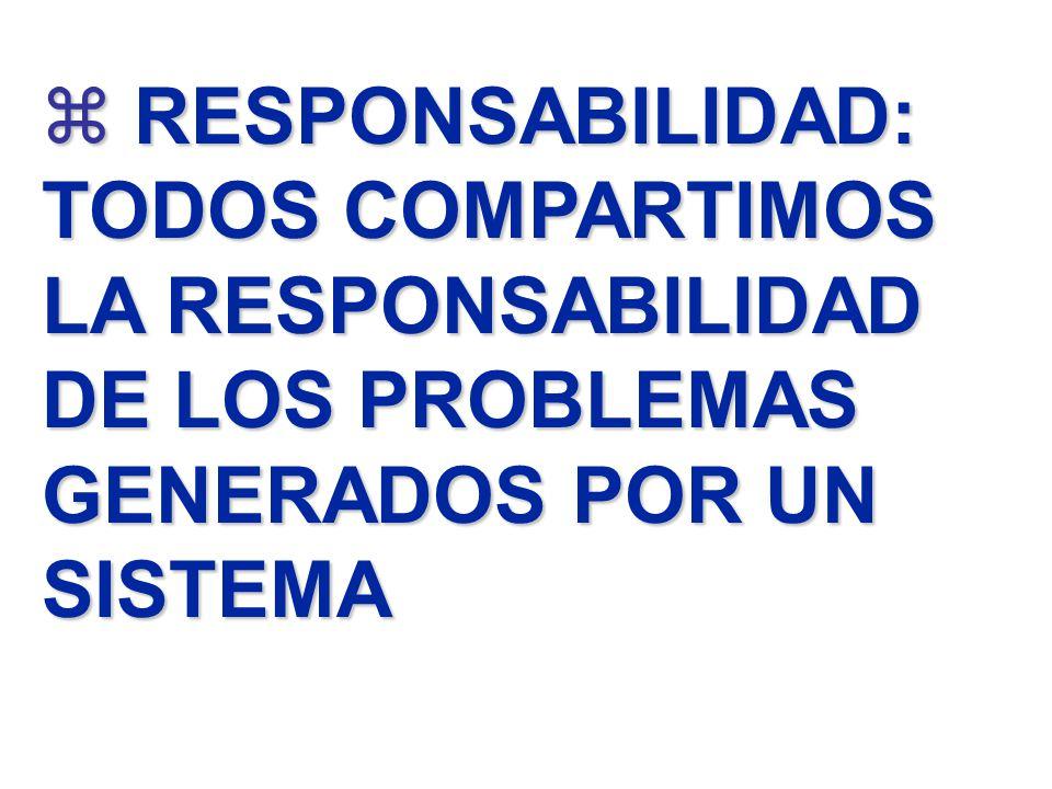 RESPONSABILIDAD: TODOS COMPARTIMOS LA RESPONSABILIDAD DE LOS PROBLEMAS GENERADOS POR UN SISTEMA