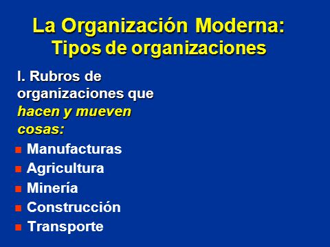 La Organización Moderna: Tipos de organizaciones
