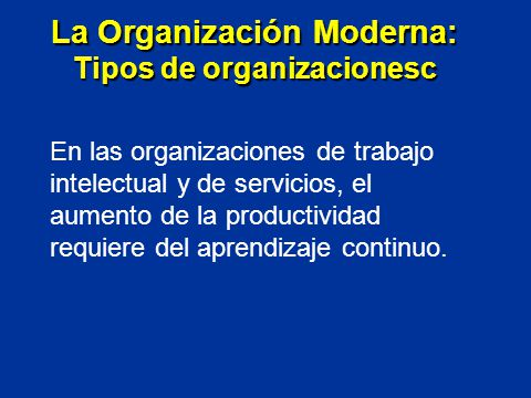 La Organización Moderna: Tipos de organizacionesc