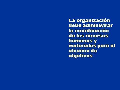 La organización debe administrar la coordinación de los recursos humanos y materiales para el alcance de objetivos