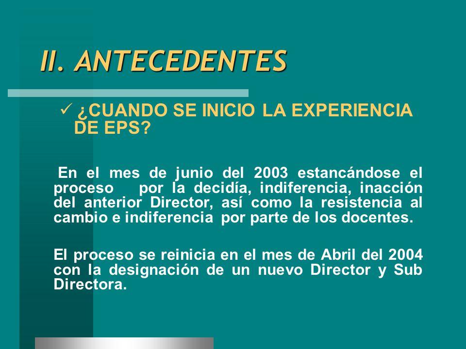II. ANTECEDENTES ¿CUANDO SE INICIO LA EXPERIENCIA DE EPS