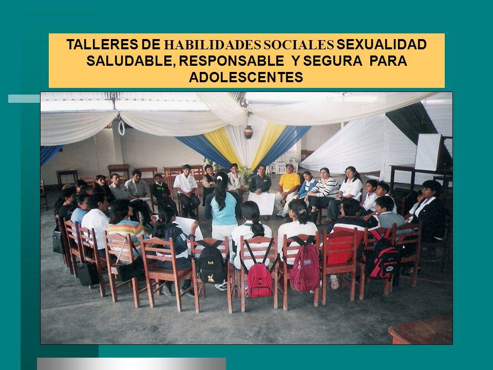 TALLERES DE HABILIDADES SOCIALES SEXUALIDAD SALUDABLE, RESPONSABLE Y SEGURA PARA ADOLESCENTES