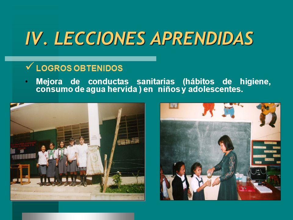IV. LECCIONES APRENDIDAS