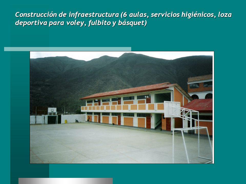 Construcción de infraestructura (6 aulas, servicios higiénicos, loza deportiva para voley, fulbito y básquet)