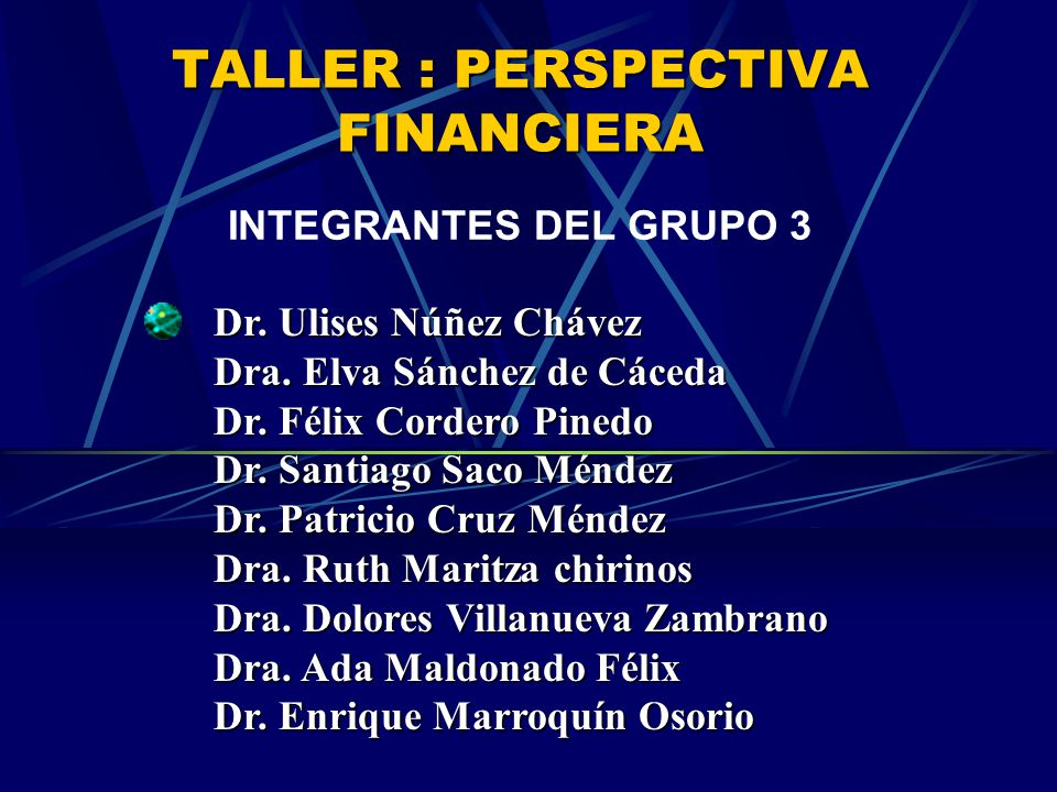 TALLER : PERSPECTIVA FINANCIERA
