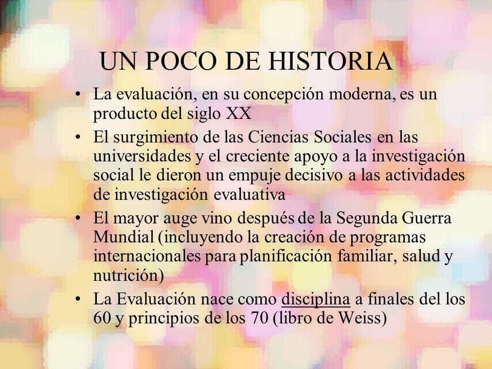 UN POCO DE HISTORIA La evaluación, en su concepción moderna, es un producto del siglo XX.