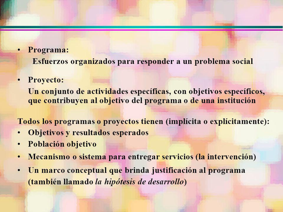Programa: Esfuerzos organizados para responder a un problema social. Proyecto: