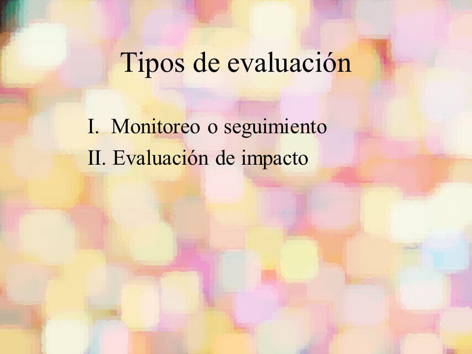 Tipos de evaluación I. Monitoreo o seguimiento