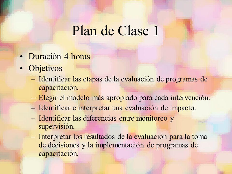 Plan de Clase 1 Duración 4 horas Objetivos