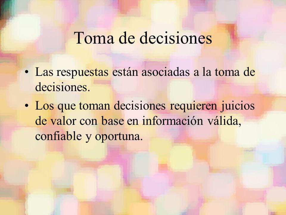 Toma de decisiones Las respuestas están asociadas a la toma de decisiones.