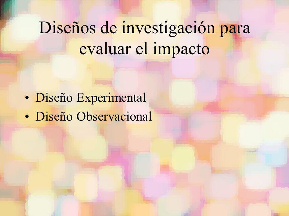 Diseños de investigación para evaluar el impacto