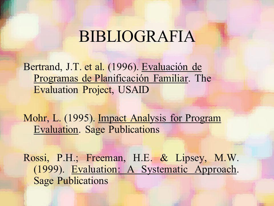 BIBLIOGRAFIA Bertrand, J.T. et al. (1996). Evaluación de Programas de Planificación Familiar. The Evaluation Project, USAID.