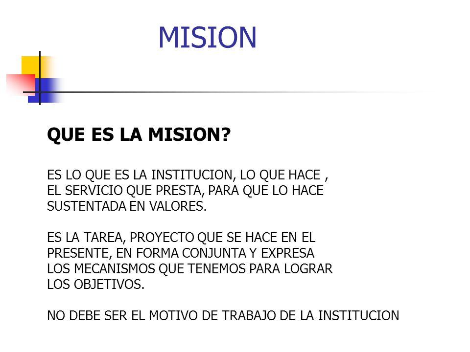 MISION QUE ES LA MISION ES LO QUE ES LA INSTITUCION, LO QUE HACE ,
