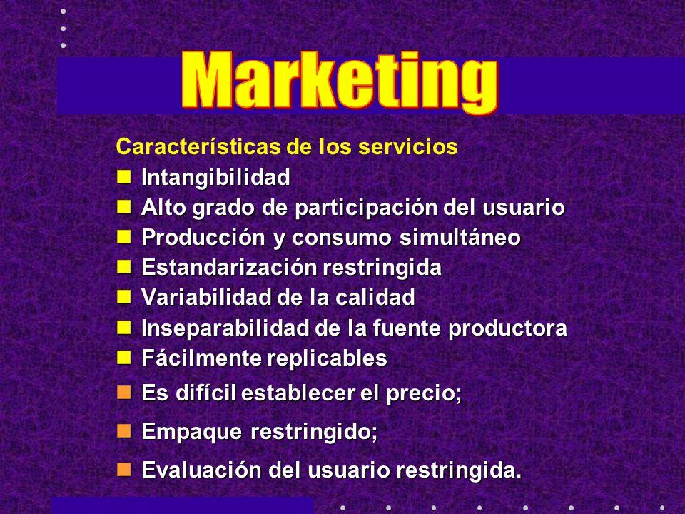 Marketing Características de los servicios Intangibilidad