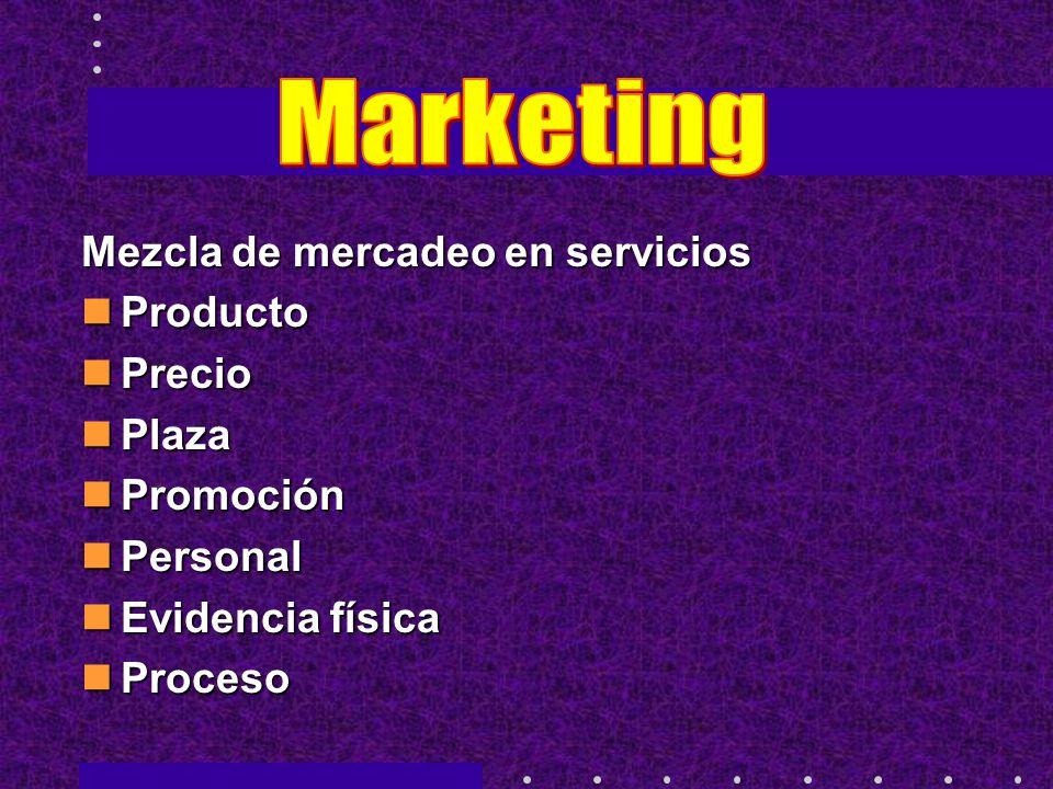 Marketing Mezcla de mercadeo en servicios Producto Precio Plaza