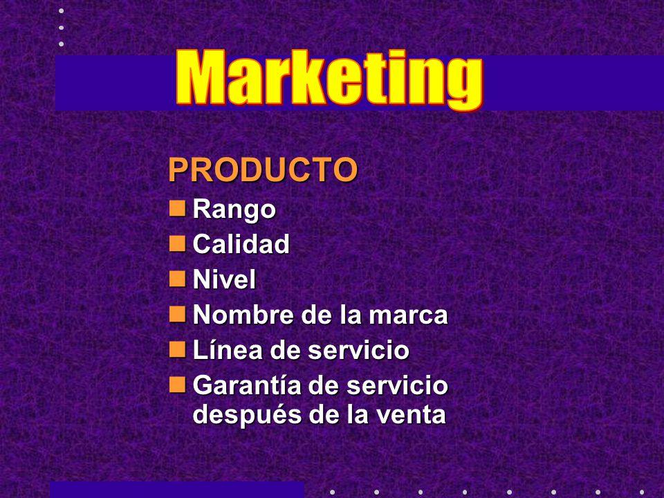 Marketing PRODUCTO Rango Calidad Nivel Nombre de la marca