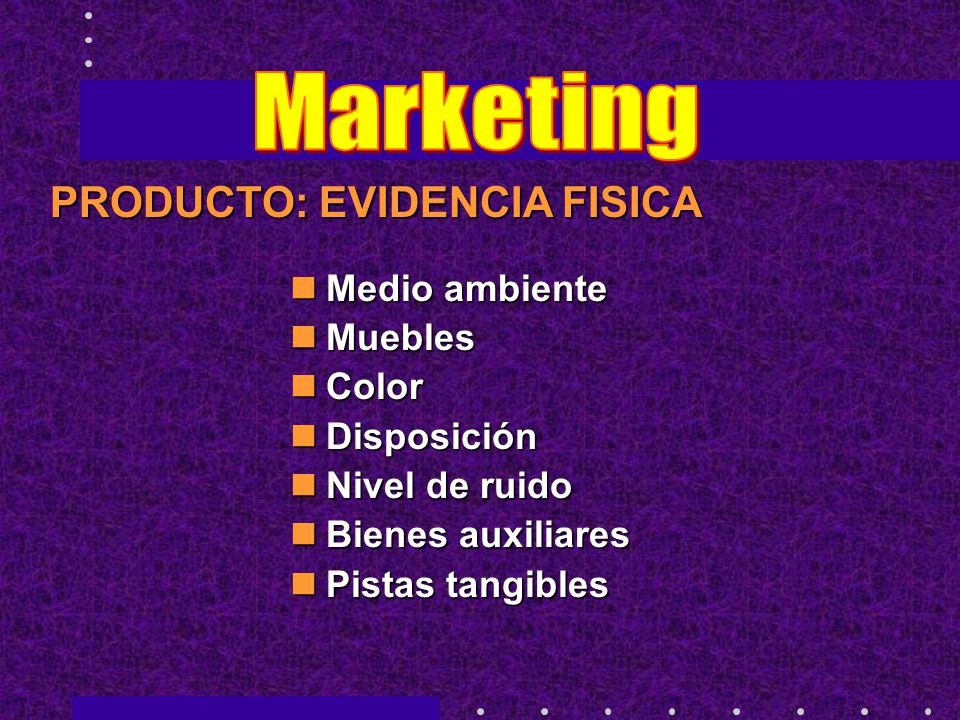 Marketing PRODUCTO: EVIDENCIA FISICA Medio ambiente Muebles Color