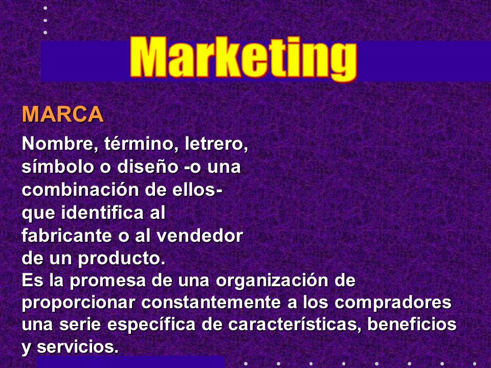Marketing MARCA. Nombre, término, letrero, símbolo o diseño -o una combinación de ellos- que identifica al fabricante o al vendedor de un producto.