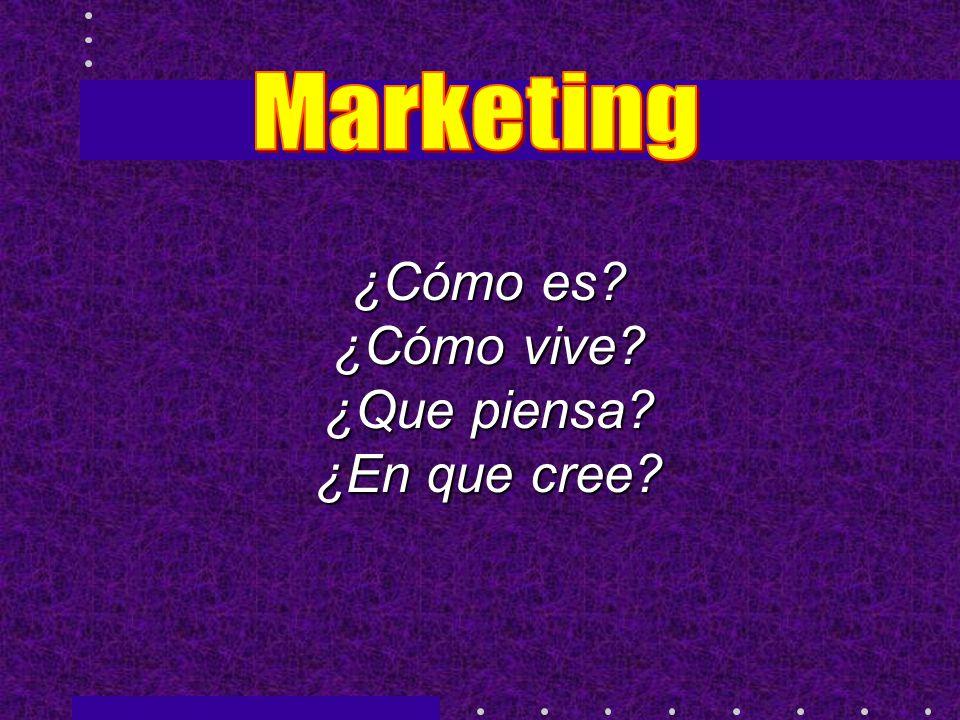 Marketing ¿Cómo es ¿Cómo vive ¿Que piensa ¿En que cree