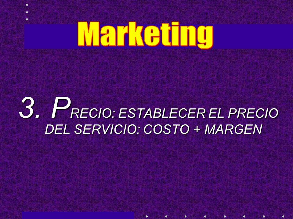 3. PRECIO: ESTABLECER EL PRECIO DEL SERVICIO: COSTO + MARGEN