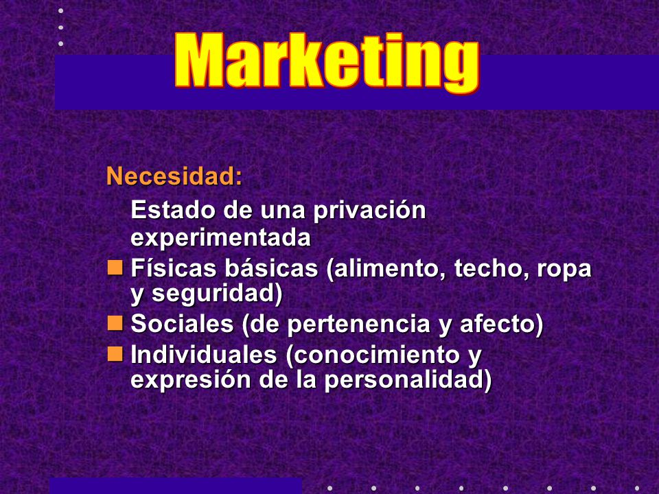 Marketing Necesidad: Estado de una privación experimentada