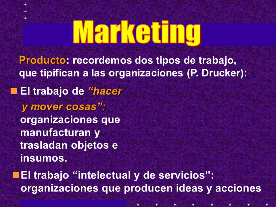 Marketing Producto: recordemos dos tipos de trabajo, que tipifican a las organizaciones (P. Drucker):