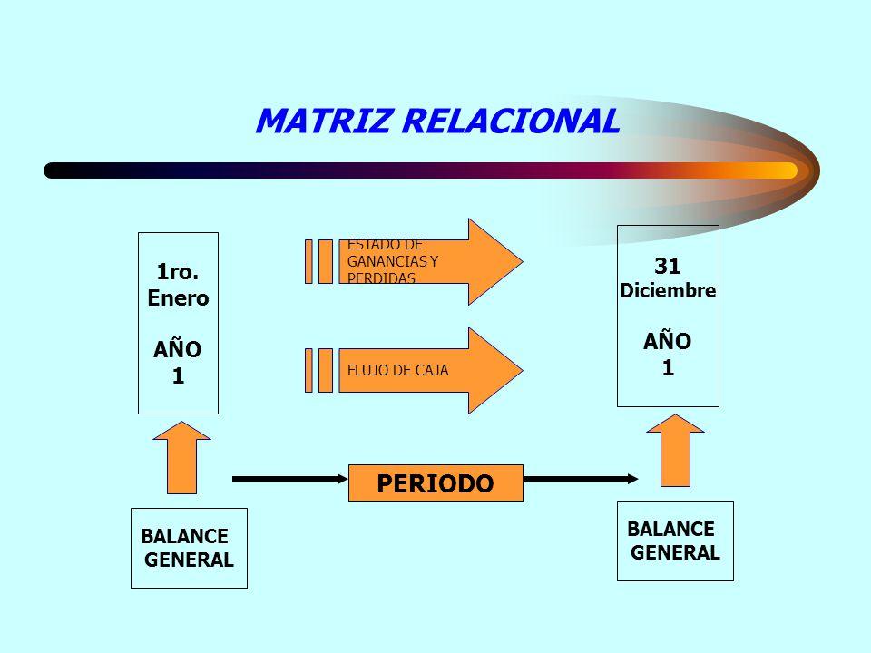 MATRIZ RELACIONAL PERIODO 31 1ro. Enero AÑO AÑO 1 1 Diciembre BALANCE