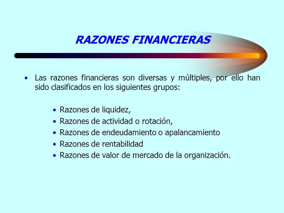 RAZONES FINANCIERAS Las razones financieras son diversas y múltiples, por ello han sido clasificados en los siguientes grupos: