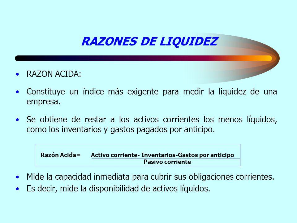 Razón Acida= Activo corriente- Inventarios-Gastos por anticipo