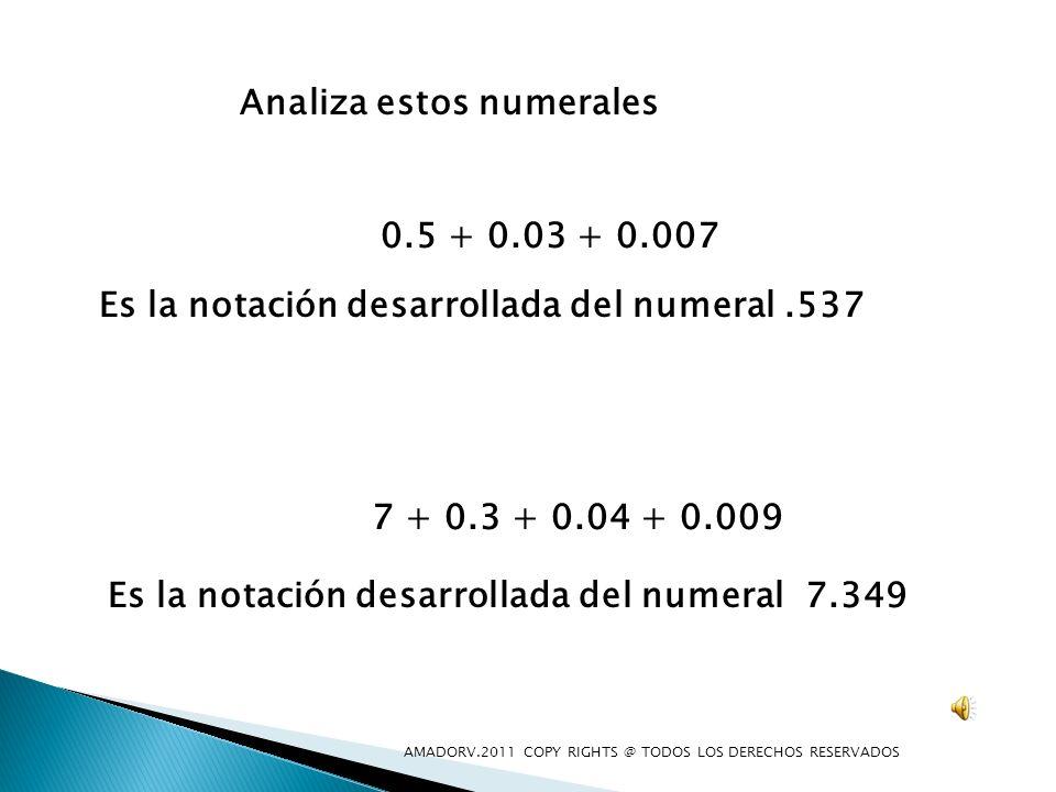 Analiza estos numerales