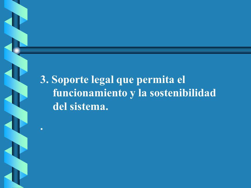 3. Soporte legal que permita el funcionamiento y la sostenibilidad del sistema.