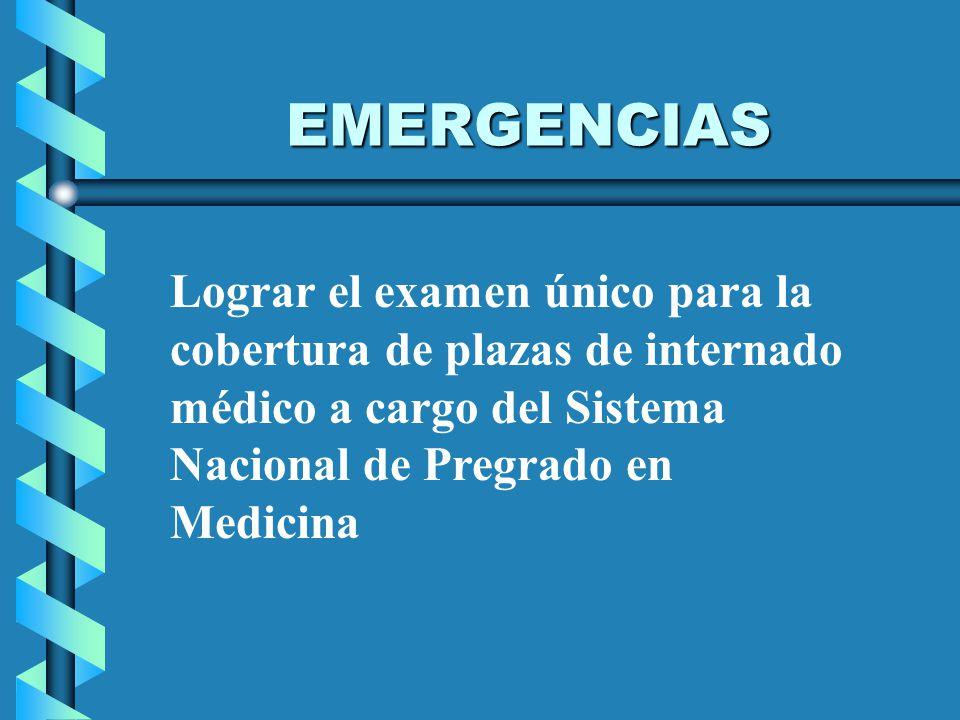 EMERGENCIAS Lograr el examen único para la cobertura de plazas de internado médico a cargo del Sistema Nacional de Pregrado en Medicina.