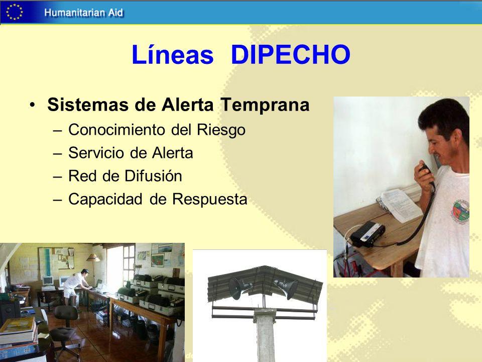 Líneas DIPECHO Sistemas de Alerta Temprana Conocimiento del Riesgo