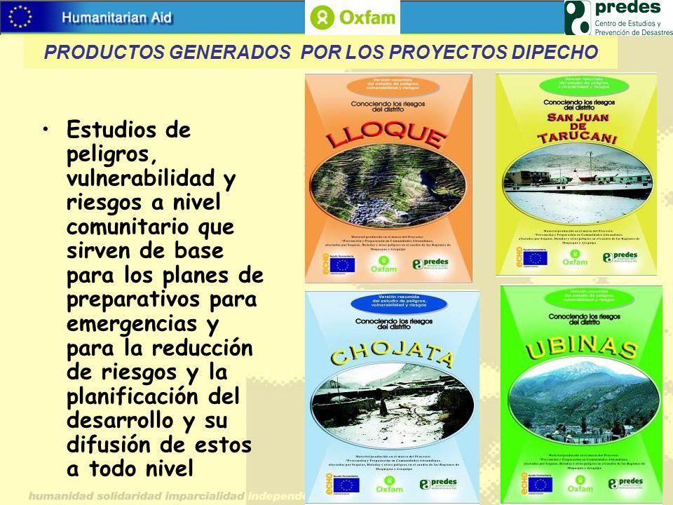 PRODUCTOS GENERADOS POR LOS PROYECTOS DIPECHO