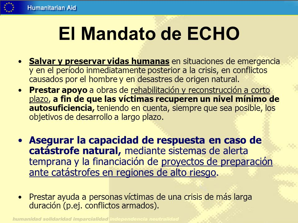 El Mandato de ECHO