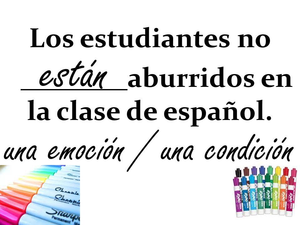 Los estudiantes no aburridos en la clase de español.