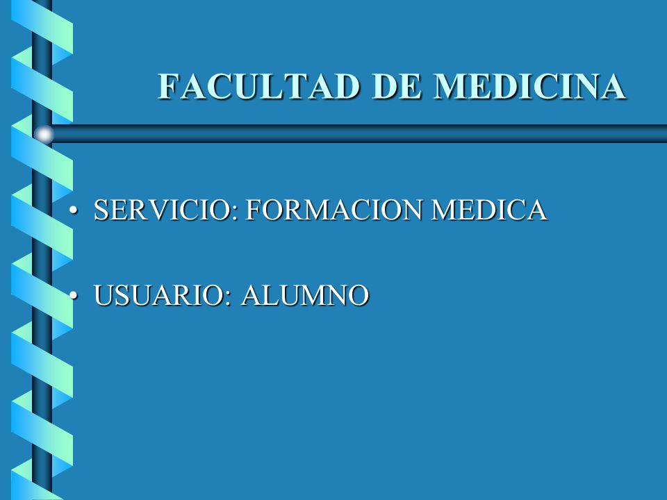 FACULTAD DE MEDICINA SERVICIO: FORMACION MEDICA USUARIO: ALUMNO