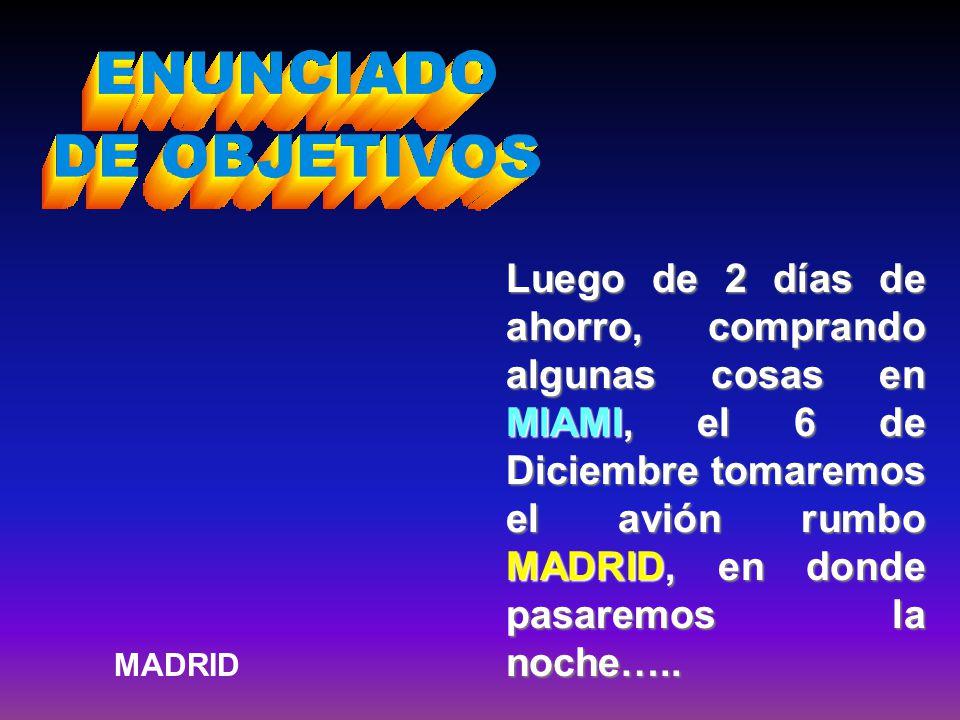 Luego de 2 días de ahorro, comprando algunas cosas en MIAMI, el 6 de Diciembre tomaremos el avión rumbo MADRID, en donde pasaremos la noche…..