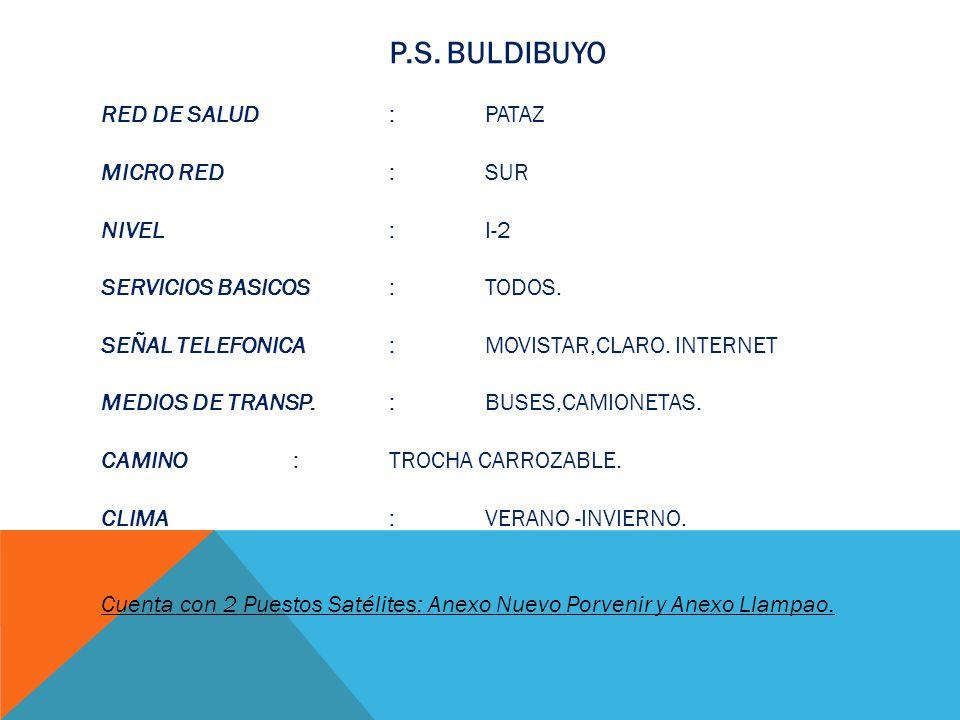 P.S. BULDIBUYO RED DE SALUD : PATAZ MICRO RED : SUR NIVEL : I-2