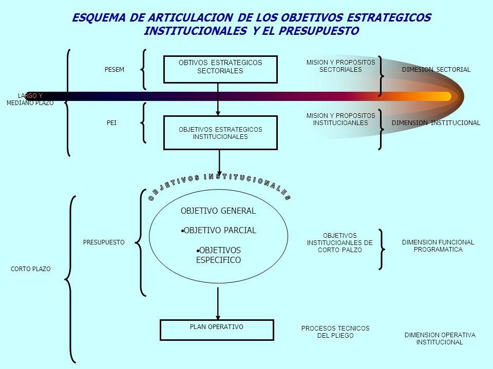 ESQUEMA DE ARTICULACION DE LOS OBJETIVOS ESTRATEGICOS INSTITUCIONALES Y EL PRESUPUESTO