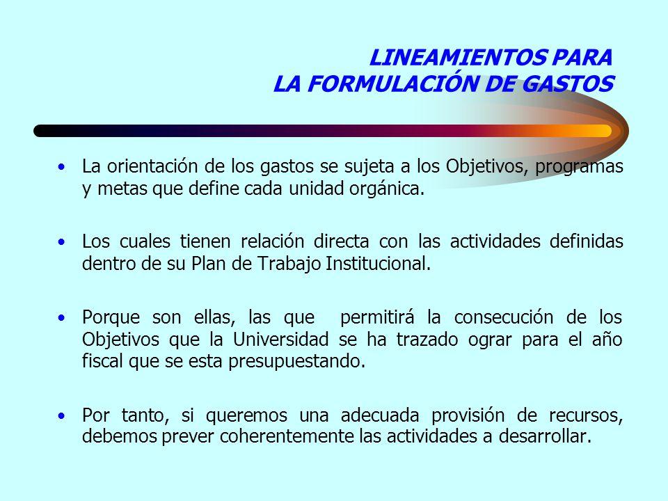 LINEAMIENTOS PARA LA FORMULACIÓN DE GASTOS